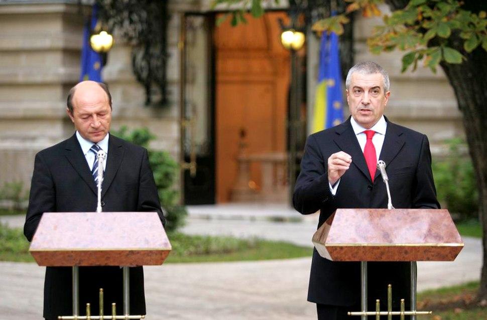C%C4%83lin Popescu T%C4%83riceanu and Traian B%C4%83sescu