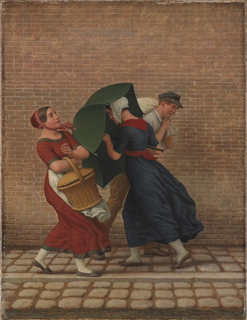 C. W. Eckersberg - Уличная сцена в ветреную и дождливую погоду - KMS8793 - Statens Museum for Kunst.jpg