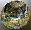 C.sf., urbino, francesco xanto avelli, tondino con allegoria delle quattro città sottomesse, 1531 circa.JPG