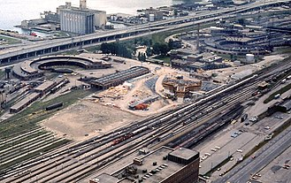 Railway Lands - A portion of the Railway Lands as it appeared in 1973. Pictured is the CN Tower as it is being constructed.