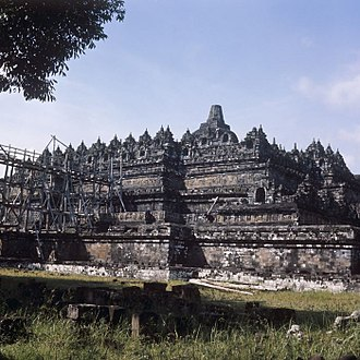 Archaeology of Indonesia - Borobudur restoration circa 1980