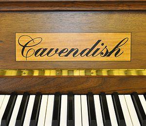 Cavendish Pianos - Photograph of Cavendish Piano showing inlaid logo