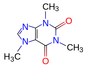 English: Chemical structure of Caffeine. Franç...