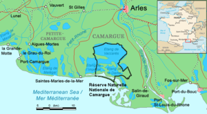 Étang de Vaccarès - Map of the Camargue showing the location of the Étang de Vaccarès