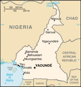 Mapa  República dos Camarões