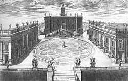 Plaza del Capitolio, en Roma, diseñada por Miguel Ángel, ejemplo de espacio perspectivo.