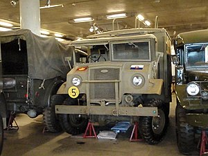 Canadian Military Pattern truck - Ford CMP chassis with opened windscreen pane on driver side