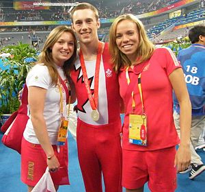 Canada at the 2008 Summer Olympics - The Canadian Trampoline team: Rosannagh MacLennan, silver medalist Jason Burnett and silver medalist Karen Cockburn