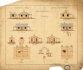 Cape Cleveland Light - 1878 plans of the original keepers' cottages, replaced in 1953