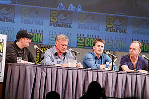 Captain America: The First Avenger - Kevin Feige, Joe Johnston, Chris Evans, and Hugo Weaving at the 2010 San Diego Comic-Con International.