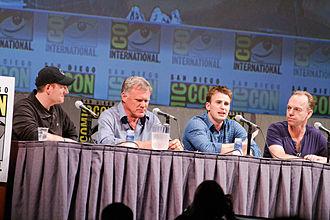 Captain America: The First Avenger - Kevin Feige, Joe Johnston, Chris Evans, and Hugo Weaving at the 2010 San Diego Comic-Con International.