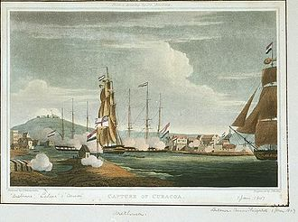 HMS Anson (1781) - The capture of Curaçao, depicted by Thomas Whitcombe