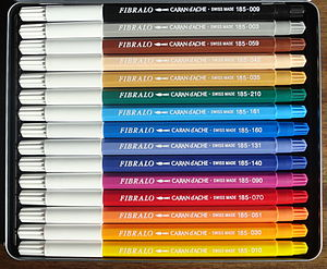 Marker pen - A box of colored felt-tip pens (made by Caran d'Ache).