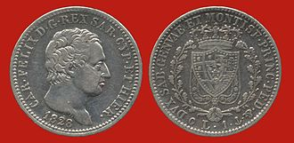 Charles Felix of Sardinia - Charles Felix depicted on a 1 lira coin of 1828