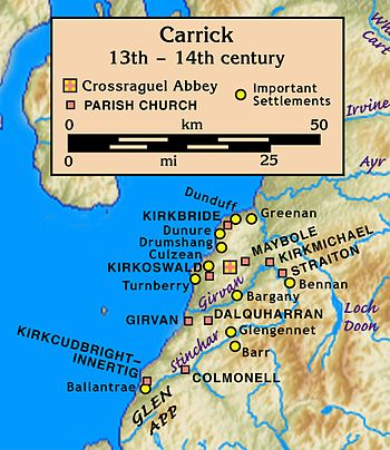Map of Carrick, 13th–14th century, on the east shore of a large body of water. Its centre was Crossraguel Abbey about 5 km inland. Nine parish churches and eleven important settlements ranged from Ballantrae in the south at the mouth of the Stinchar, then 40 km north to Greenan at the mouth of the Doon, and east to Bennan about 20 km up the Girvan.