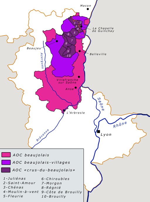 Carte vignoble beaujolais