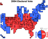 Cartogram in which each square represents one electoral vote.