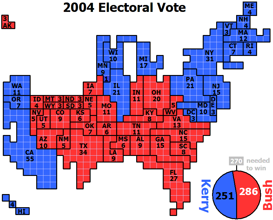 Cartogram-2004 Electoral Vote
