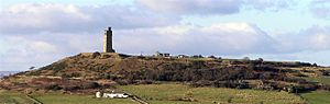 Castle Hill, Huddersfield - Castle Hill and the Victoria Tower viewed from Farnley Tyas