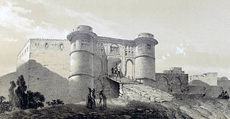 Drawbridge - A castle with draw-bridge in Iran, drawing by Eugène Flandin, 1840
