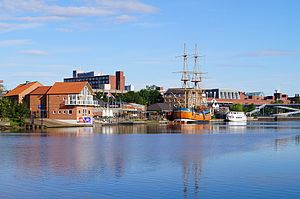 Stockton-on-Tees - Replica of HM Bark Endeavour and Teesside Princess at Castlegate Quay