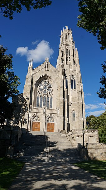 Cathedral Basilica of Christ the King is the seat for the Roman Catholic Diocese of Hamilton. Catholicism is the largest religious denomination in the city. Cathedral Basilica of Christ the King 2018 - Hamilton, ON.jpg