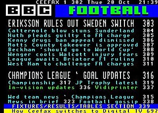 Teletext Television information retrieval service developed in the United Kingdom in the early 1970s