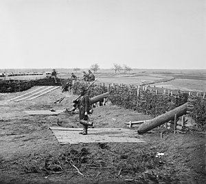 """Quaker gun - """"Quaker guns"""" (logs used as ruses to imitate cannons) in former Confederate fortifications at Manassas Junction March 1862"""