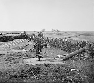 "George B. McClellan - ""Quaker guns"" (logs used as ruses to imitate cannons) in former Confederate fortifications at Manassas Junction"