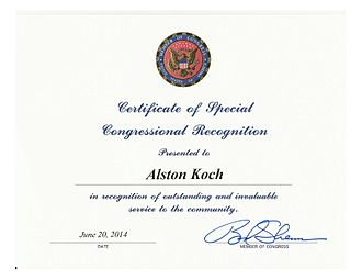 Alston Koch - Certificate of Special US Congressional Recognition to Alston Koch
