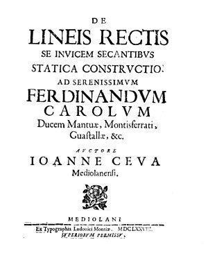 Giovanni Ceva - De lineis rectis se invicem secantibus statica constructio, 1678