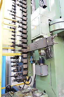 A chain type automatic tool changer with swiveling arm and two grippers, installed on a mill