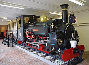 British narrow-gauge railways - Locomotive Charles of the Penrhyn Railway, seen preserved at Penrhyn Castle Museum