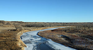 English: The Cheyenne River. The view is looki...