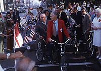 Former Mayor Richard J. Daley riding a Schwinn tandem with cycling advocate Keith Kingbay at the opening celebration of Clark Street bike lane.