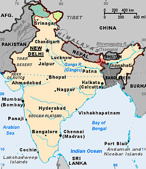 Siliguri Corridor - The Siliguri Corridor is the strip of Indian territory within the red highlighted circle.