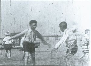 Arthur Cheetham - Still from children playing on Rhyl Sands (1898)