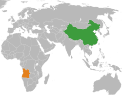 Map indicating locations of China and Angola