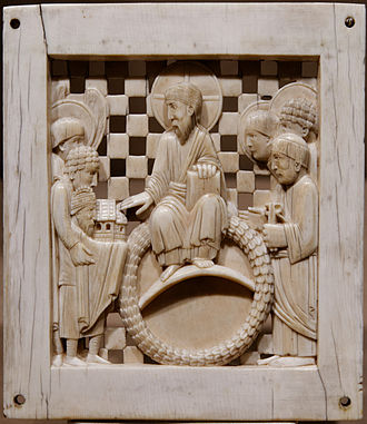 Otto I, Holy Roman Emperor - Contemporary image of Otto I, lower left, in one of the Magdeburg Ivories (Metropolitan Museum of Art, New York). Otto presents Magdeburg Cathedral to Christ and Saints, and is depicted smaller than them as a sign of humility.