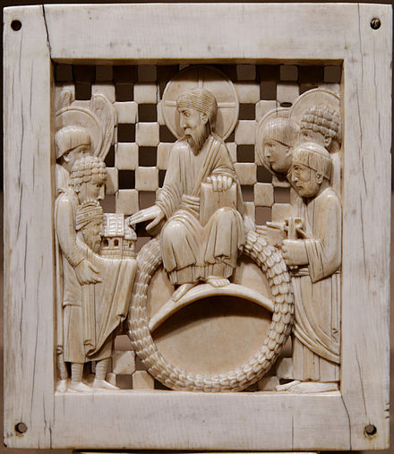 Contemporary image of Otto I, lower left, in one of the Magdeburg Ivories. Otto presents Magdeburg Cathedral to Christ and Saints, and is depicted smaller than them as a sign of humility.