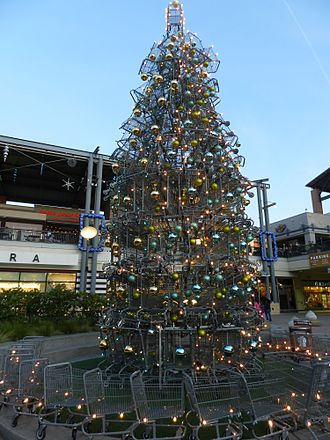 Bay Street Emeryville - Shopping cart Christmas tree at the mall, 2011