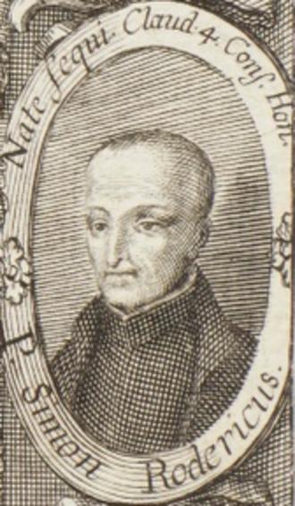 Simão Rodrigues - Detail of Simão Rodrigues on the title page of Chronica da Companhia de Iesv nos Reynos de Portugal, by Balthazar Telles (1645-47)