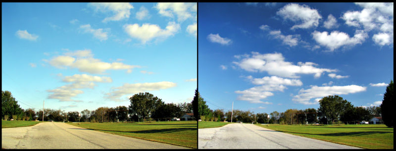 The effects of a polarising filter on the sky in a photograph. Left picture is taken without polariser. For the right picture, filter was adjusted to eliminate certain polarizations of the scattered blue light from the sky. CircularPolarizer.jpg