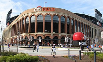 Citi Field - Entrance to Citi Field through the Jackie Robinson Rotunda, with Shea Stadium's Home Run Apple on the right.