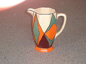 Clarice Cliff - Early 'Original Bizarre' pattern on an Athens shape jug
