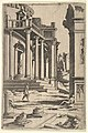 Classizing Landscape with Three Figures, from a series of architectural ruins with figures, in reverse after prints by Jacques Androuet Ducerceau after Léonard Thiry MET DP828582.jpg