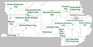 Clay County, Arkansas - Townships in Clay County, Arkansas as of 2010
