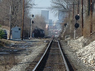 Clifton, Louisville - View of Downtown Louisville from railroad tracks in Clifton
