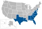 Coastal Collegiate Sports Association map