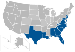 Coastal Collegiate Sports Association - Image: Coastal Collegiate Sports Association map